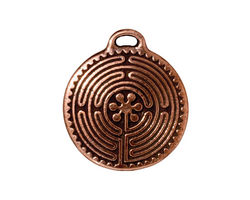 TierraCast Antique Copper (plated) Labyrinth Pendant 23x26mm