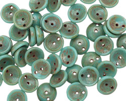 Czech Glass Turquoise Picasso 2-Hole Piggy Bead 8mm