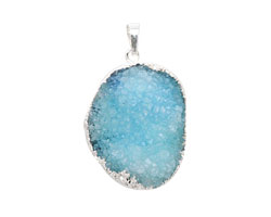 Sky Blue Druzy Pendant set in Silver (plated) 25-35x45-55mm