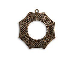 Vintaj Natural Brass Asian Window Pendant 25x26mm