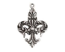 Nunn Design Antique Silver (plated) Decorative Fleur Charm 22x32mm