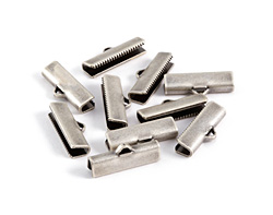 Antique Silver (plated) Smooth Ribbon Crimp End 20mm