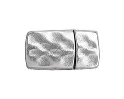 Antique Silver (plated) Hammered Magnetic Clasp 18x15mm