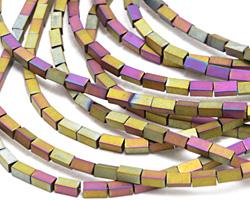 Iris Chartruese Hematite (matte) 4-Sided Tube 4x2mm