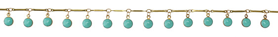 Zola Elements Brass Bar Chain w/ Turquoise Coin Charm