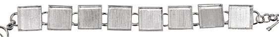 Silver (plated) Square Bezel Link Bracelet 17mm
