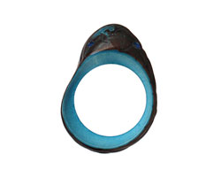 Tagua Nut Turquoise Open Slice (side drilled) 33-45x24-36mm