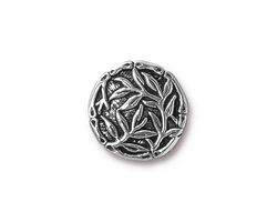 TierraCast Antique Silver (plated) Bamboo Button 16mm