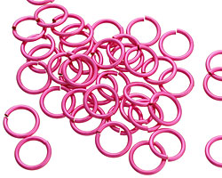 Hot Pink Enameled Copper Round Jump Ring 8mm, 18 gauge