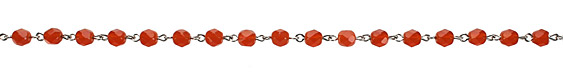 Czech Fire Polished Carnelian Faceted Round Silver (plated) Bead Chain
