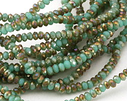 Green Turquoise w/ Bronze AB Crystal Faceted Rondelle 2mm