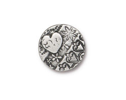 TierraCast Antique Pewter (plated) Amor Round Button 16mm