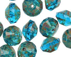 Czech Glass Coastal Blue Picasso Saucer 9x13mm
