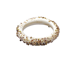 A Beaded Gift Dusted Ivory Raku Ring 22-24mm