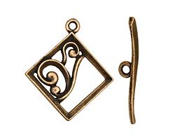 Antique Brass (plated) Diamond w/ Swirls Toggle Clasp 28x24mm, 29mm bar