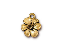 TierraCast Antique Gold (plated) Apple Blossom Charm 14x17mm