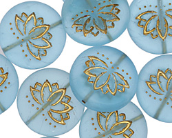 Czech Glass Matte Bronzed Aqua Blue Lotus Coin 18mm