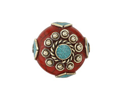 Tibetan Resin Coral & White Brass w/ Turquoise Center Coin Bead 25mm
