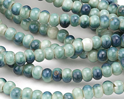 Ocean Blue Porcelain Tumbled Rondelle 5x7mm