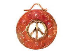 Patricia Healey Copper Peace w/ Hearts Pendant 27x30mm