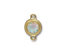 TierraCast Gold (plated) Stepped Bezel Link w/ Crystal AB 12x17mm