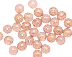 Czech Glass Pink Opal w/ Rose Picasso Round Druk 6mm