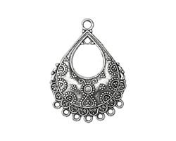 Zola Elements Antique Silver (plated) Ornate Bali Style Teardrop Chandelier Focal 27x37mm