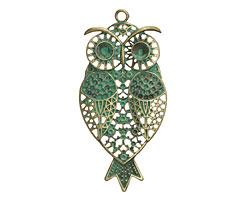 Patina Green Brass Ornate Owl Pendant 40x85mm