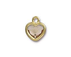 TierraCast Gold (plated) Heart Drop w/ Light Silk Crystal 13x16mm