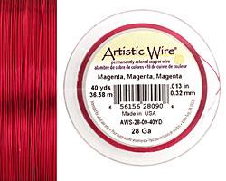 Artistic Wire Magenta 28 gauge, 40 yards