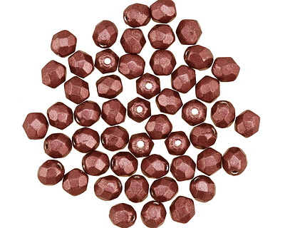 Czech Glass ColorTrends: Saturated Metallic Valiant Poppy Fire Polished Round 4mm