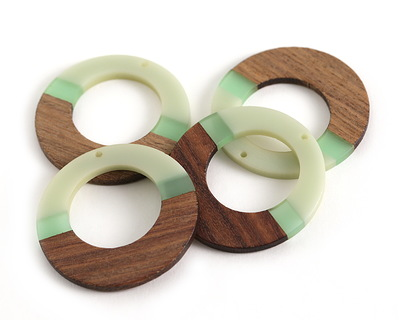 Walnut Wood & Beach Glass Resin Gypsy Hoop Focal 49mm