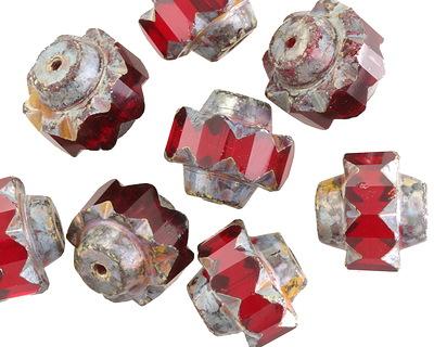 Czech Glass Garnet Picasso Crown Bead 13x15mm