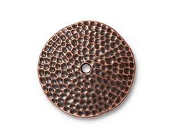 TierraCast Antique Copper (plated) Hammertone Disk 25mm