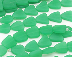 Opaque Spring Green Recycled Glass Flat Freeform 15x13-15mm