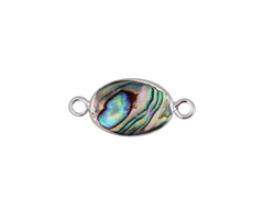 Abalone Oval Focal Link w/ Silver Finish 21x10mm