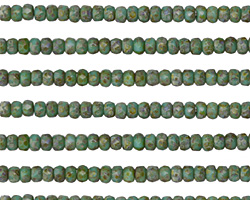 Czech Glass Green Turquoise Picasso Fire Polished Rondelle 2x3mm