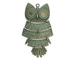 Zola Elements Patina Green Brass Vintage Owl Pendant 50x83mm