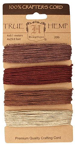 Shades of Bronze Hemp Twine 20 lb, 29.8 ft x 4 colors