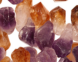 Amethyst and Citrine Rough Nugget Drop 10-14x17-25mm