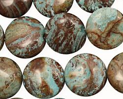 Blue Calsilica Jasper Puff Coin 16mm