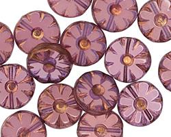 Czech Glass Bronzed Gladiola Flower Window Coin 12mm