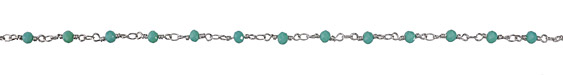 Zola Elements Opaque Green Opal Crystal 4mm Imitation Rhodium (plated) Bead Chain