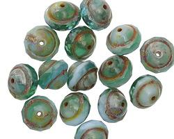 Czech Glass Emerald Turquoise Sky Picasso UFO 7x9mm