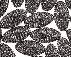 Black Diamond Pave (w/ Preciosa Crystals) Rice 19x10mm (1.5mm hole)