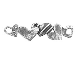 Rustic Charms Sterling Silver Happy Heart Link 41x20mm