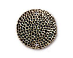 TierraCast Antique Brass (plated) Hammertone Disk Link 25mm