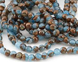 Sea Blue Opal w/ Bronzite Marbled Quartz Round 4mm