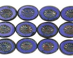 Czech Glass Opaque Denim Blue Oval w/ Star Window 14x10mm