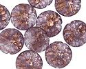 Czech Glass Bronzed Lavender Dahlia Coin 14mm